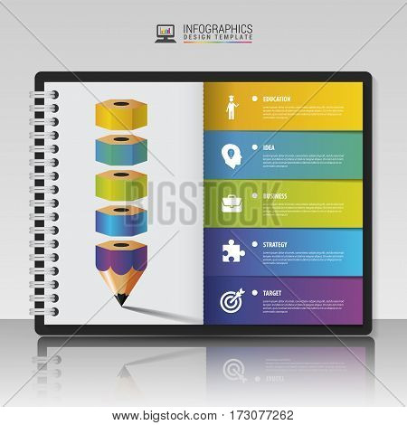 Modern Infographic options. Business concept with pencil. Vector illustration