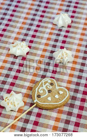 Sweet White Meringue And Oatmeal Cookies In The Form Of Hearts