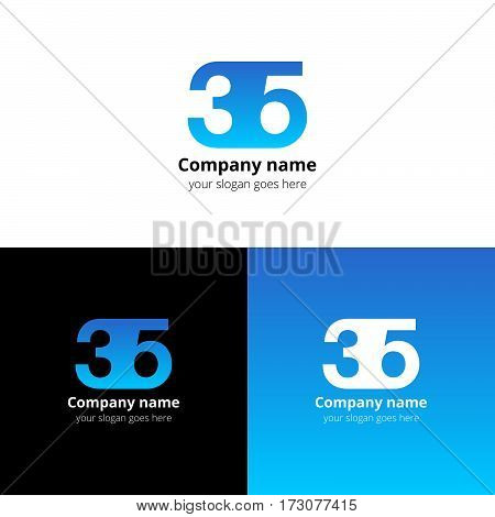 35 logo icon flat and vector design template. Monogram years numbers three and five. Logotype thirty five with light blue gradient color. Creative vision concept logo, elements, sign, symbol for card,