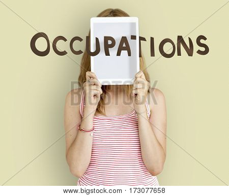 Girl Holding Tablet Occupations Word