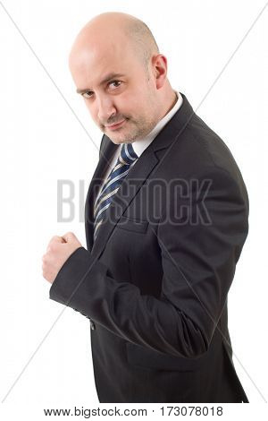 silly business man portrait isolated on white