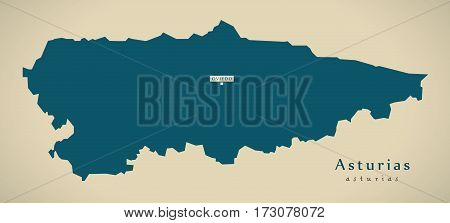 Modern Map - Asturias Spain Es Illustration