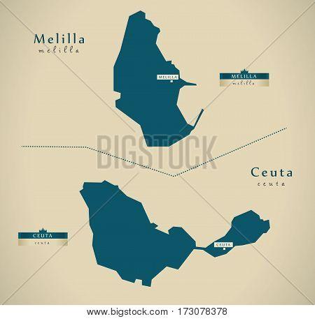 Modern Map - Melilla And Ceuta Spain Es Illustration