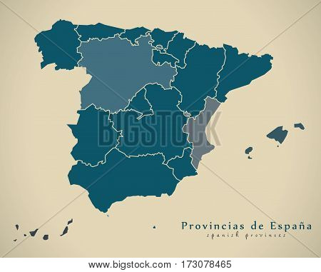 Modern Map - Spain With Provinces Es Illustration