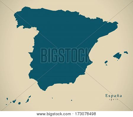 Modern Map - Spain ES illustration silhouette