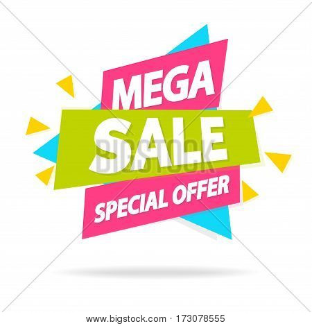 Sale sticker with sign mega sale special offer for special offer, advertisement tag, sale, big sale, mega sale, hot price, discount poster isolated on white background. Vector Illustration