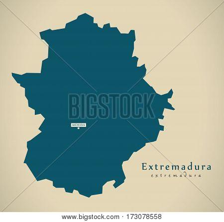 Modern Map - Extremadura Spain Es Illustration