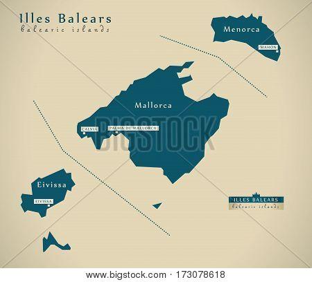 Modern Map - Balearic Islands Spain Es Illustration