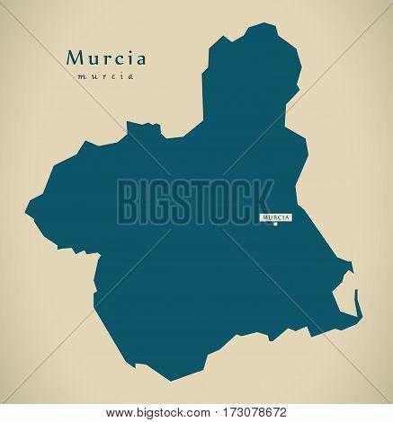 Modern Map - Murcia Spain Es Illustration
