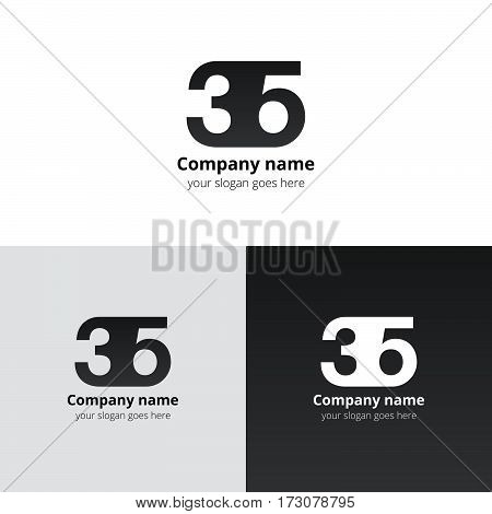 35 logo icon flat and vector design template. Monogram years numbers three and five. Logotype thirty five with grey-black gradient. Creative vision concept logo, elements, sign, symbol for card,