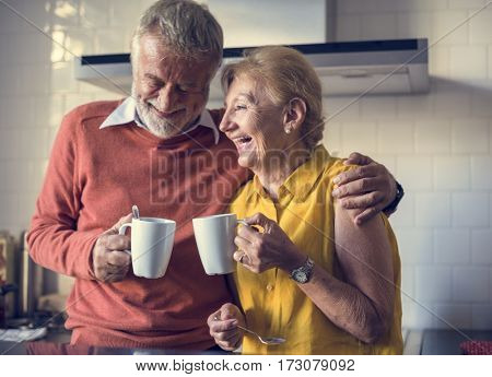 Senior Drink Tea Coffee Kitchen Happiness