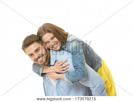 Cute young couple on white background