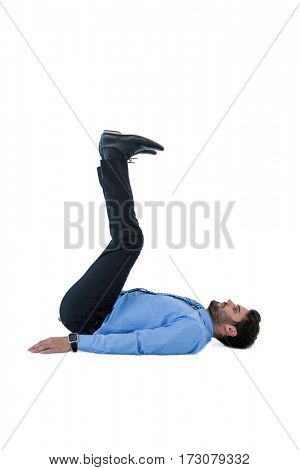 Businessman doing exercise on white background
