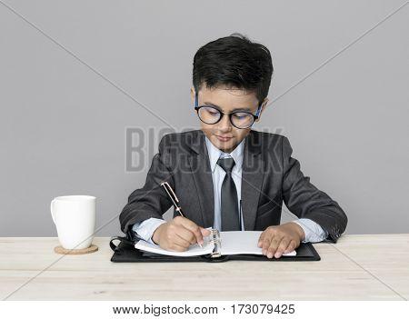 Little Boy Businessman Working Busy