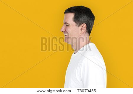 Caucasian Man Smiling Happy Side View