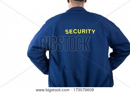 Rear view of security officer against white background