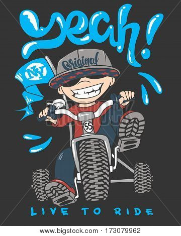 Cool kid on bike t-shirt print vector illustration