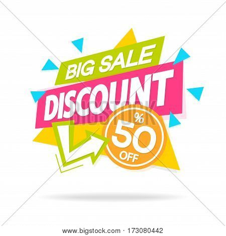 Sale sticker with sign big sale discount for special offer, advertisement tag, sale, big sale, mega sale, hot price, discount poster isolated on white background. Vector Illustration