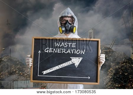 Global Pollution Concept. Man In Gas Mask Is Warning Against Was
