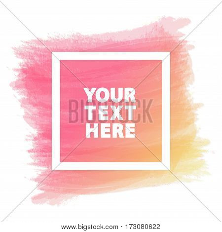 Template banner for sign such as black friday, advertisement, sale, promotion, special offer, hot price, discount poster, greeting card and with yellow pink watercolor brush strokes shapes and frame.