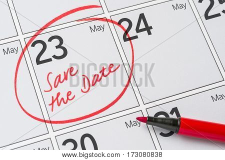 Save The Date Written On A Calendar - May 23