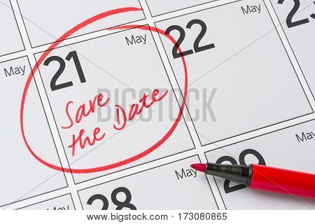 Save The Date Written On A Calendar - May 21