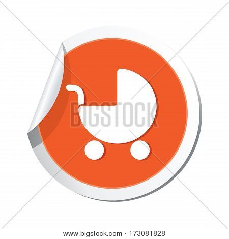 Sticker with baby carriage icon. Vector illustration