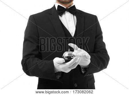 Waiter with bell on white background, closeup