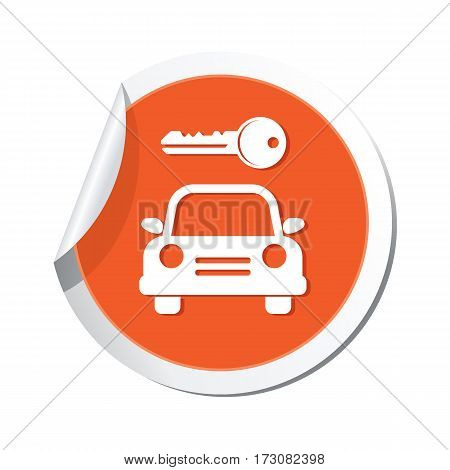 Parking for car icon on orange sticker, vector illustration