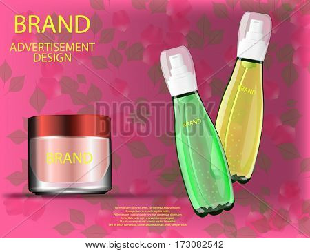 Facial Cream and Serums for Skin on the sparckling Background Concept Skin Care Cosmetic. Mock-ups of glass container and cream jar. Blank template of packaging for cosmetic product.