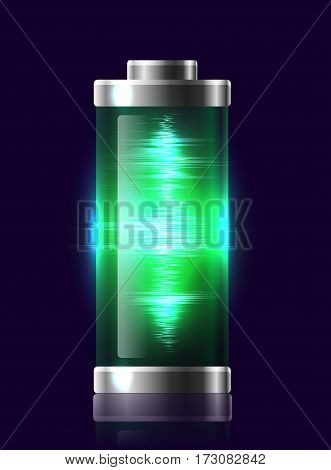 Illustration transparent charged batteries with electric charge resonance. Vector element for your creativity