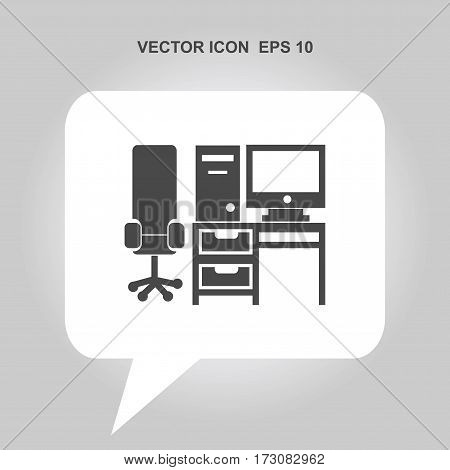 computer set with table and chair Icon, computer set with table and chair Icon Eps10, computer set with table and chair Icon Vector, computer set with table and chair Icon Eps