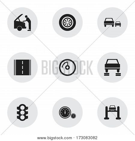 Set Of 9 Editable Traffic Icons. Includes Symbols Such As Car Fixing, Speedometer, Highway And More. Can Be Used For Web, Mobile, UI And Infographic Design.