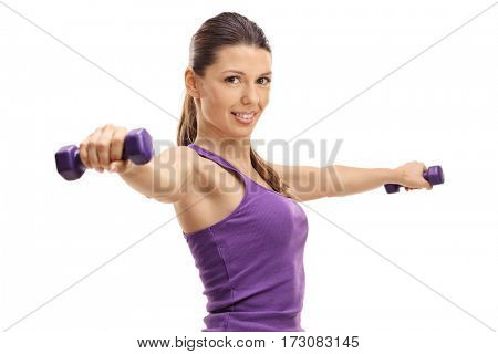 Young woman working out with dumbbells isolated on white background