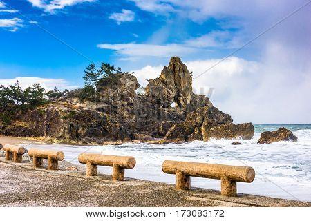 Wajima, Japan coast at Madoiwa Rock.