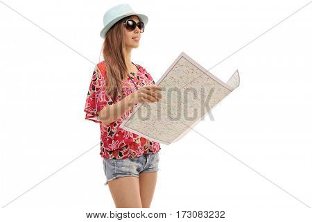 Female tourist with a generic map isolated on white background
