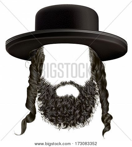 black  hair sidelocks with beard . mask wig jew hassid in hat .