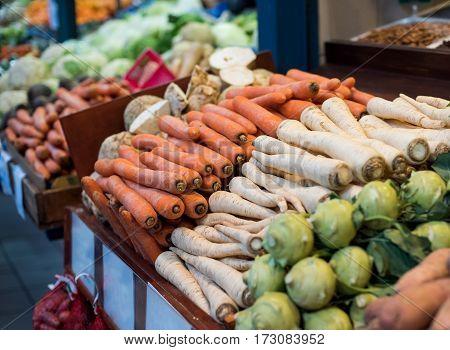 Vegetable market. Vegetables on the shelves neatly