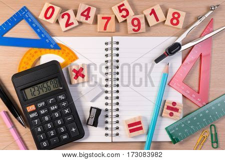 Pen And Abacus Over School Note Book For Mathematics Class In School. Mathematics Book And Mathemati
