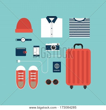 World travel icons and object concept flat design isolated layout business trip holiday vacation vector illustration