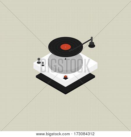 Turntable isometric flat design isolated vector illustration