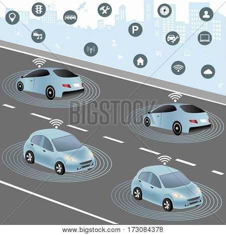 Wireless network of vehicle. Smart Car Traffic and wireless network Intelligent Transport Systems