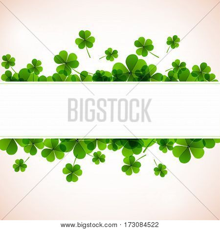 Banner. Fresh Green Leafs Clover With Ribon.