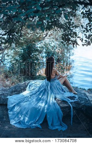 Fashion Art Photo. Sexy attractive Woman with naked breast and back in blue dress sitting on rocky beach against watery and trees background. One Alone Girl at Night. Beautiful creative shot of sensual seductive multi-racial Asian Caucasian female model l
