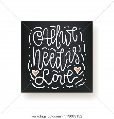 All we need is love - hand lettering card. Hand drawn print. White ink quote isolated on a black background. Modern brush calligraphy.