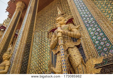 statues at Garuda Wat Phra Kaew, famous temple at Bangkok Thailand