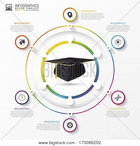 Education infographic template. Academic cap. Vector illustration