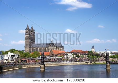 Magdeburger Dom and eEbe River in Sachsen-Anhalt Germany