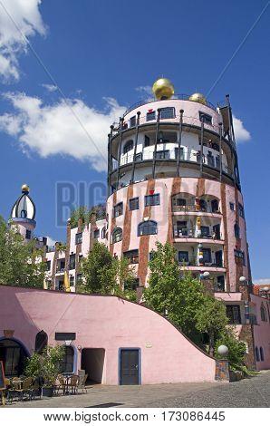 Gruene Zitadelle Hundertwasserhaus in Magdeburg Germany .