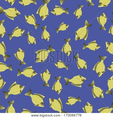 Set of Fish Isolated on Blue Water Background. Carp Seamless Pattern